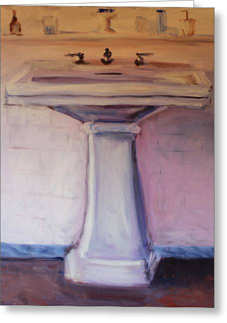 Greeting Card featuring the painting The Bathroom by Rosemarie Hakim