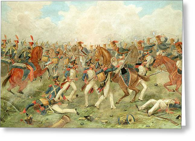 The Battle Of Vitoria June 21st 1813 Greeting Card by John Augustus Atkinson