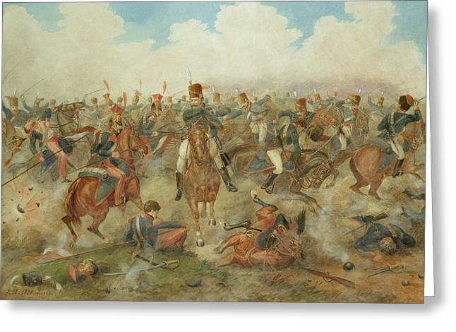 The Battle Of Waterloo June 18th 1815 Greeting Card by John Augustus Atkinson