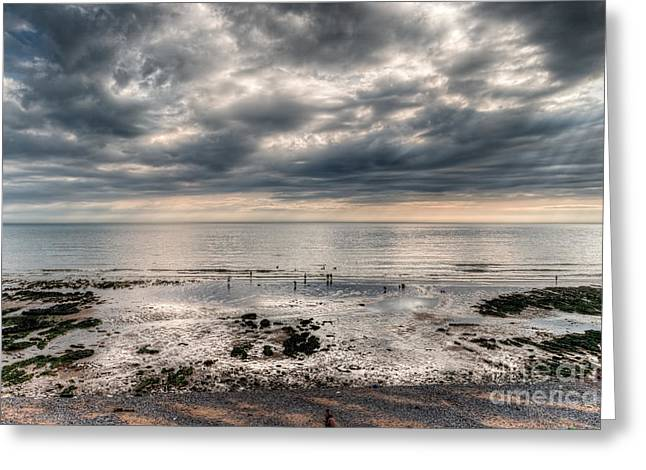 The Beach At Birling Gap Eastbourne England Greeting Card by Ann Garrett
