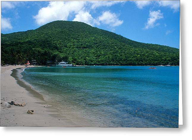 The Beach At Caneel Bay Greeting Card by Kathy Yates