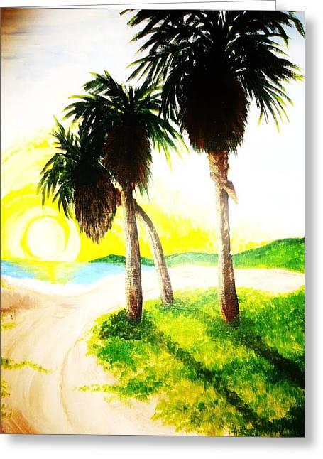 The Beach Greeting Card by Ragdoll Washburn