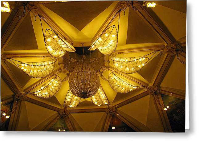 The Beautifully Lit Chandelier On The Ceiling Of The Iskcon Temple In Delhi Greeting Card by Ashish Agarwal