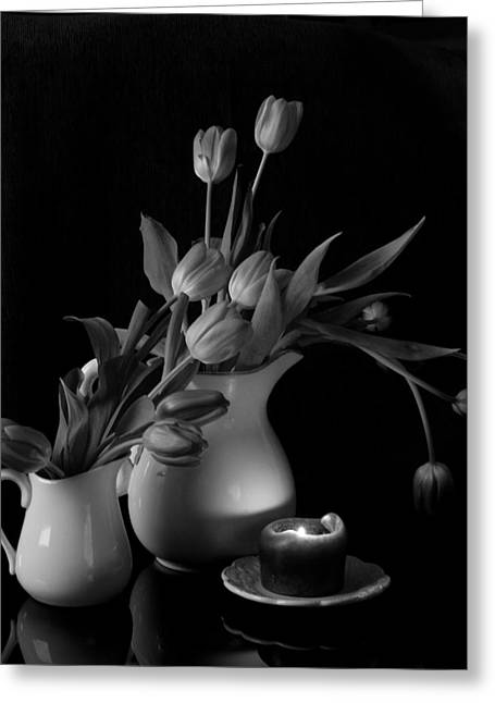 The Beauty Of Tulips In Black And White Greeting Card by Sherry Hallemeier