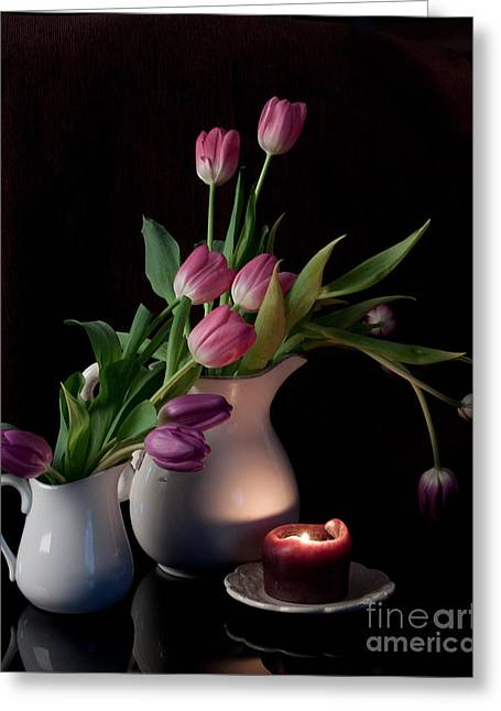 The Beauty Of Tulips Greeting Card by Sherry Hallemeier