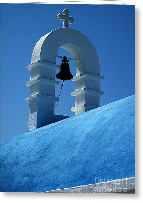 Greeting Card featuring the photograph The Bell Tower In Mykonos by Vivian Christopher