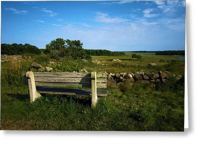 The Bench In Biddeford Greeting Card by John J Murphy III