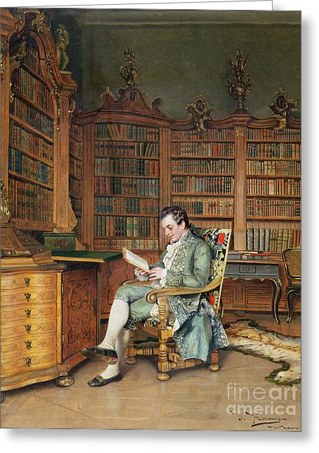 The Bibliophile Greeting Card by Johann Hamza