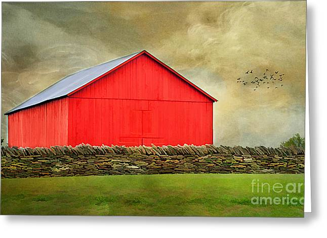 The Big Red Barn Greeting Card by Darren Fisher