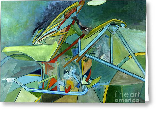 Cool Abstract Biker Print For Men Art Decor Gifts Greeting Card by Marie Christine Belkadi