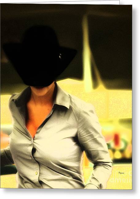 The Black Hat Greeting Card by Steven Digman
