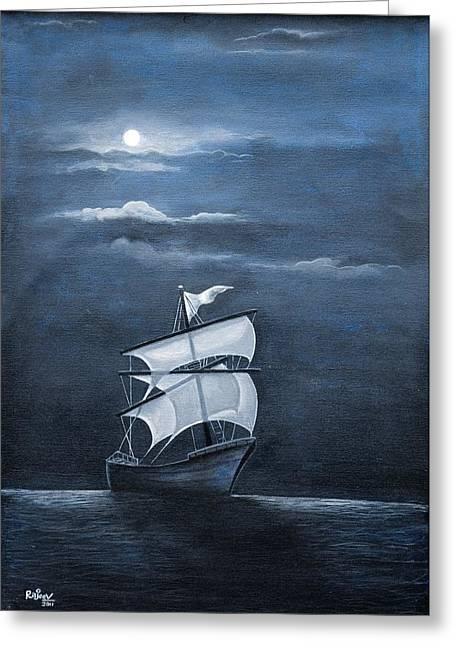 The Black Pearl Greeting Card by Rajeev M Krishnan