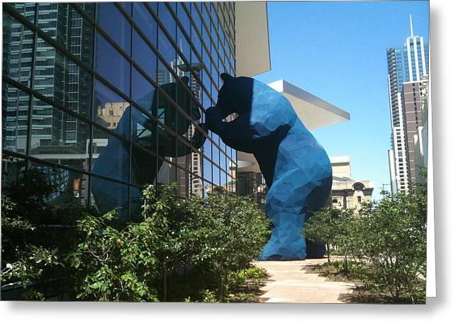The Blue Bear Of Denver Colorado Greeting Card by Shawn Hughes