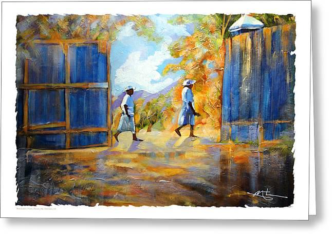 The Blue Gates Of Haiti Greeting Card by Bob Salo