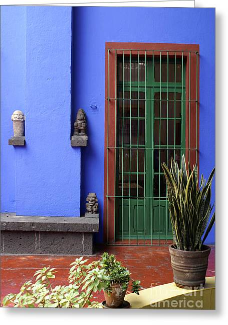 The Blue House Mexico City Greeting Card by John  Mitchell