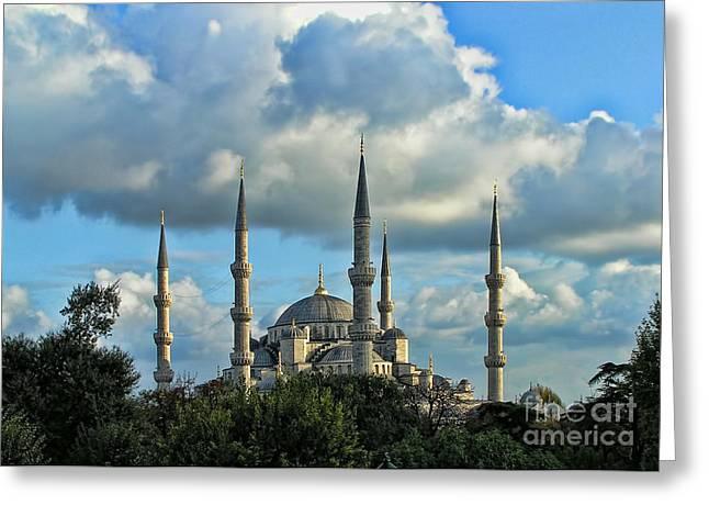 The Blue Mosque Sultanahmet Camii  Greeting Card by Alexandra Jordankova