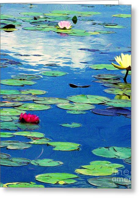 The Blue Pond  Greeting Card