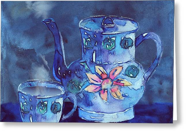 The Blue Teapot Greeting Card by Arline Wagner
