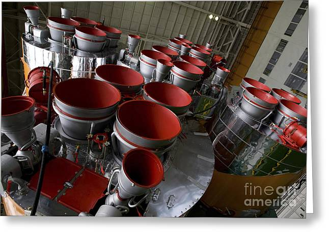 The Boosters Of The Soyuz Tma-14 Greeting Card by Stocktrek Images