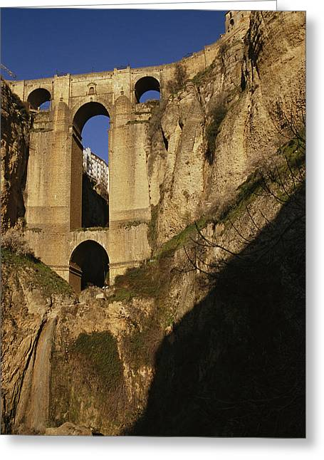 The Bridge At Ronda Spain Connects Greeting Card by Stephen Alvarez