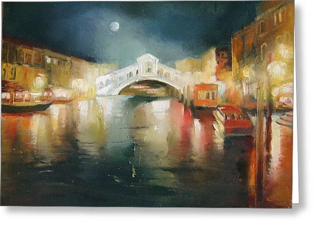 The Bridge Greeting Card by Nelya Shenklyarska