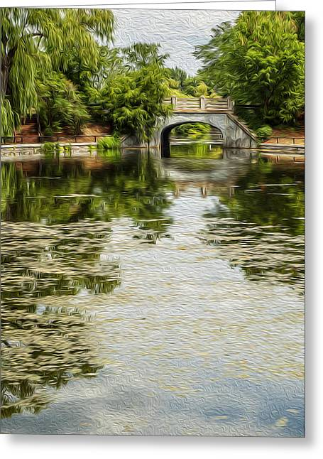 The Bridge On The Pond. Greeting Card