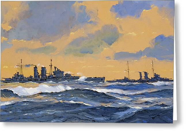 The British Cruisers Hms Exeter And Hms York  Greeting Card