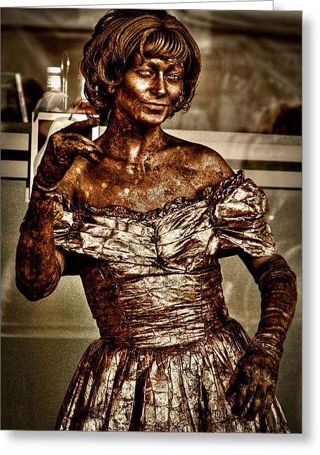 The Bronze Lady In Pike Place Market Greeting Card by David Patterson