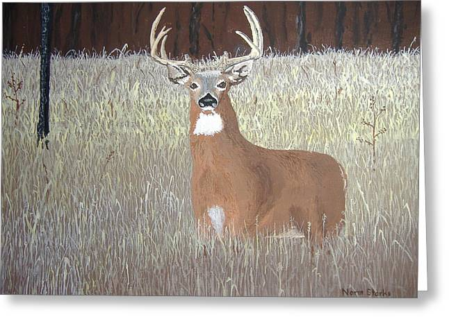 Greeting Card featuring the painting The Buck Stops Here by Norm Starks