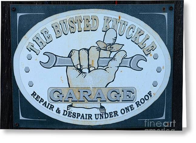 The Busted Knuckle Greeting Card by Paul Ward