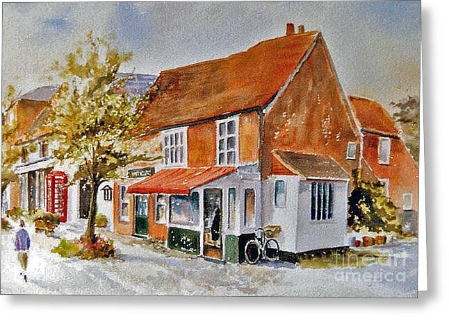 Greeting Card featuring the painting The Butcher Shop Lenham by Beatrice Cloake