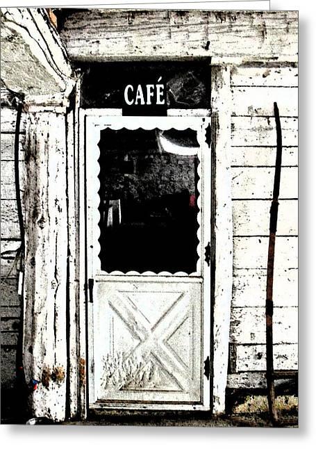 The Cafe Greeting Card by Cyryn Fyrcyd