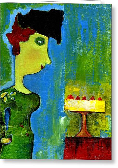 The Cake Greeting Card by Agnes Trachet