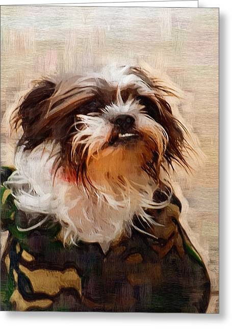 The Camo Makes The Dog Greeting Card by Kathy Clark