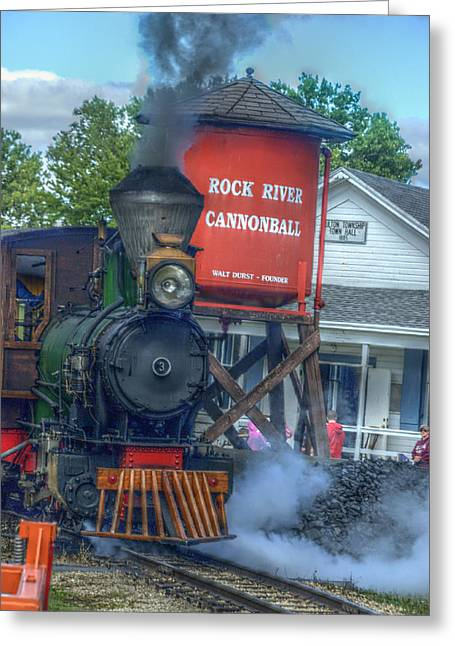 The Cannonball Express Greeting Card by Janice Adomeit