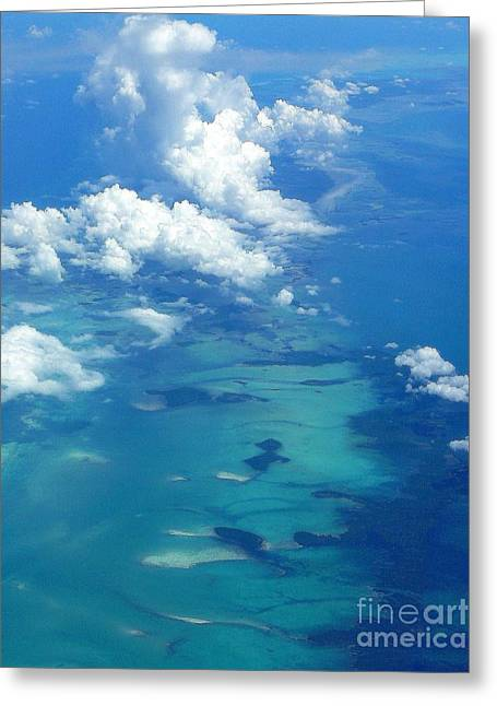 The Caribbean Sea From On High Greeting Card by Anne Gordon