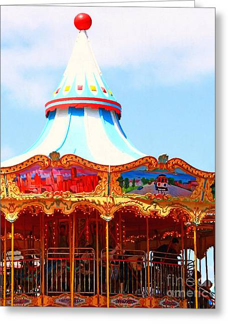 The Carousel At Pier 39 San Francisco California . 7d14342 Greeting Card by Wingsdomain Art and Photography