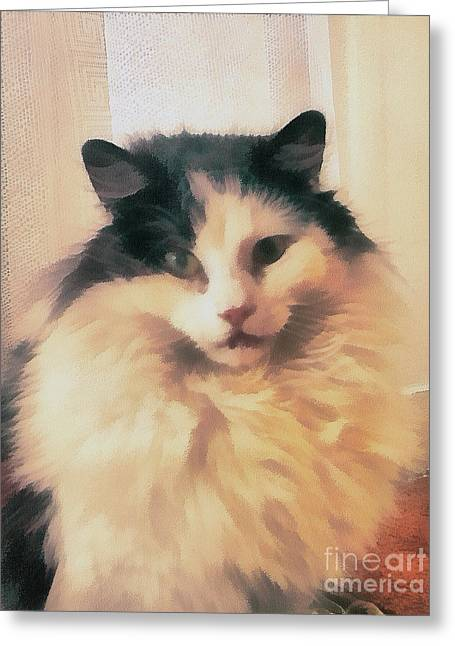The Cat Portrait Greeting Card by Odon Czintos