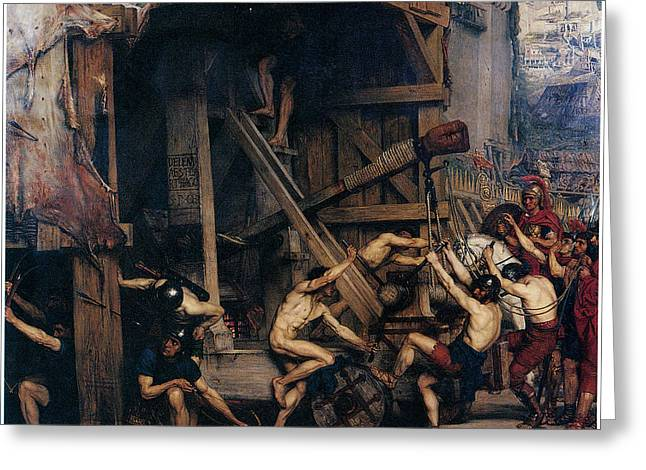 The Catapult Greeting Card by Edward Poynter