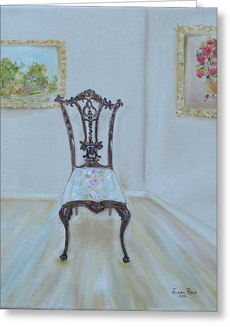 Greeting Card featuring the painting The Chair by Judith Rhue