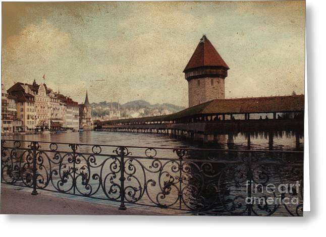 The Chapel Bridge In Lucerne Switzerland Greeting Card by Susanne Van Hulst