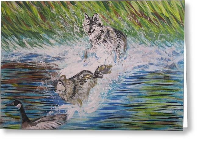The Chase Greeting Card by Julia Rita Theriault