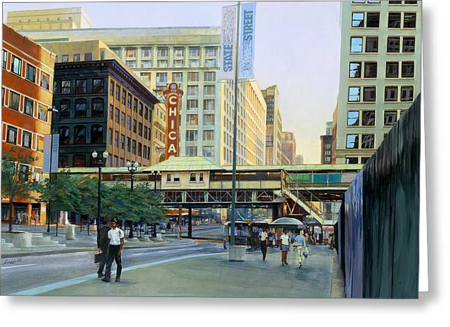 The Chicago Theater Greeting Card by Rick Clubb