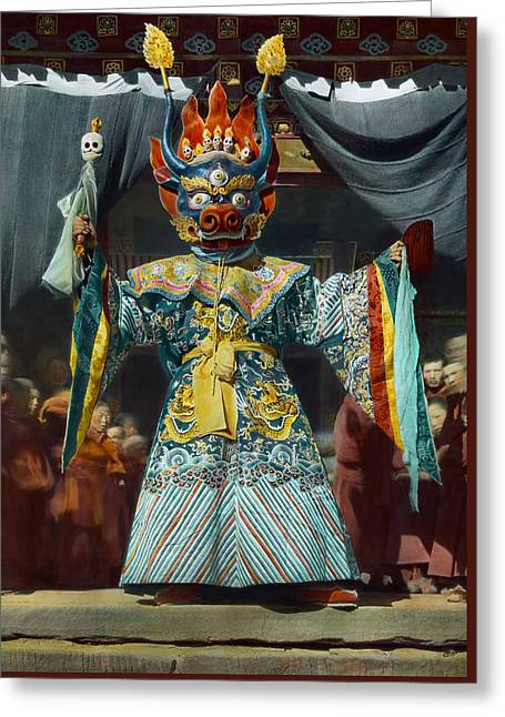 The Chief Dancer Impersonates King Greeting Card by Dr Joseph F Rock