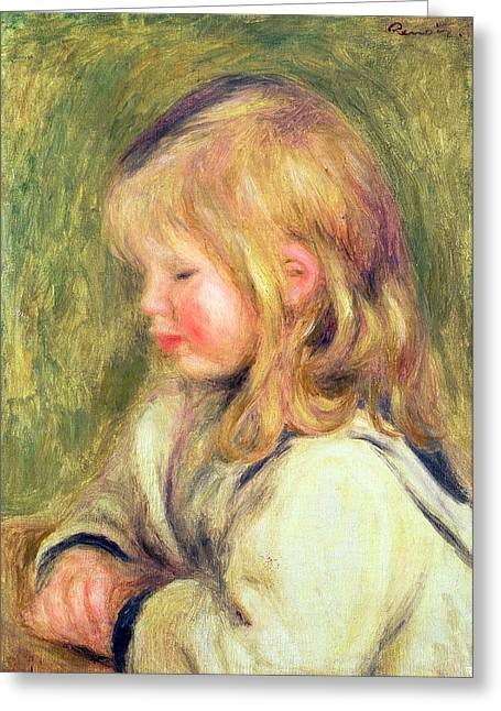The Child In A White Shirt Reading Greeting Card