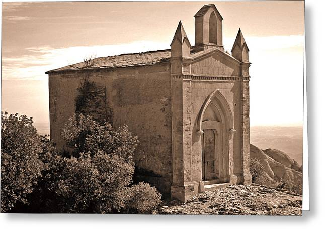 The Church At The Top Of The Mountain Greeting Card by Roberto Alamino