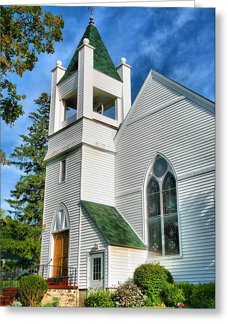 The Church On Bluff Point Greeting Card by Steven Ainsworth