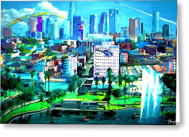 The City Of Angels Greeting Card by Rom Galicia