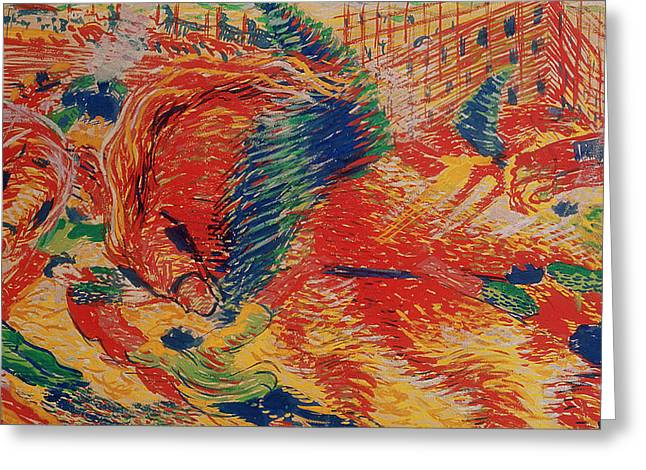 The City Rises Greeting Card by Umberto Boccioni