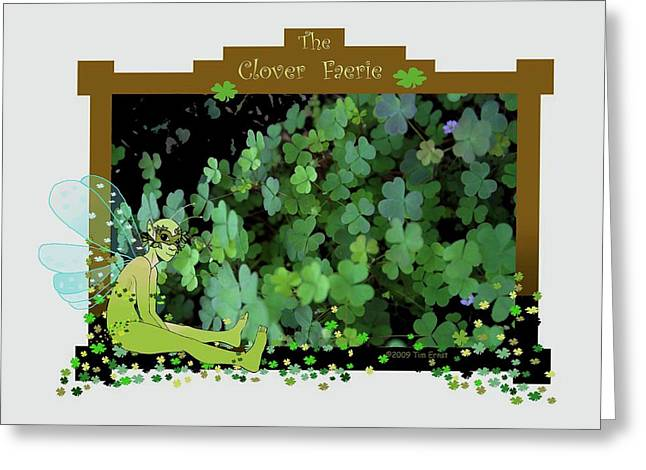 Greeting Card featuring the digital art The Clover Faerie by Tim Ernst